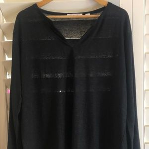 Trenery Size XL Black Linen Top Relaxed Look